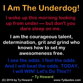 Underdog Quotes Prepossessing Ty Howard's Being An Underdog Quotes  Tyquotes